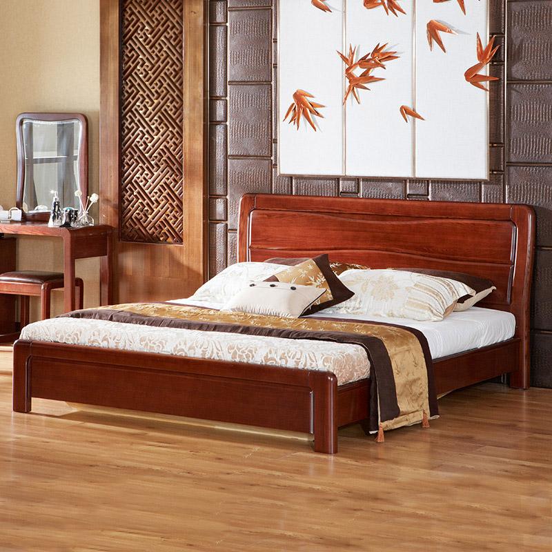 光明 中式全实木水曲柳双人床