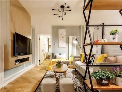84平北欧风二居室,花架隔断和电视背景墙都是亮点!
