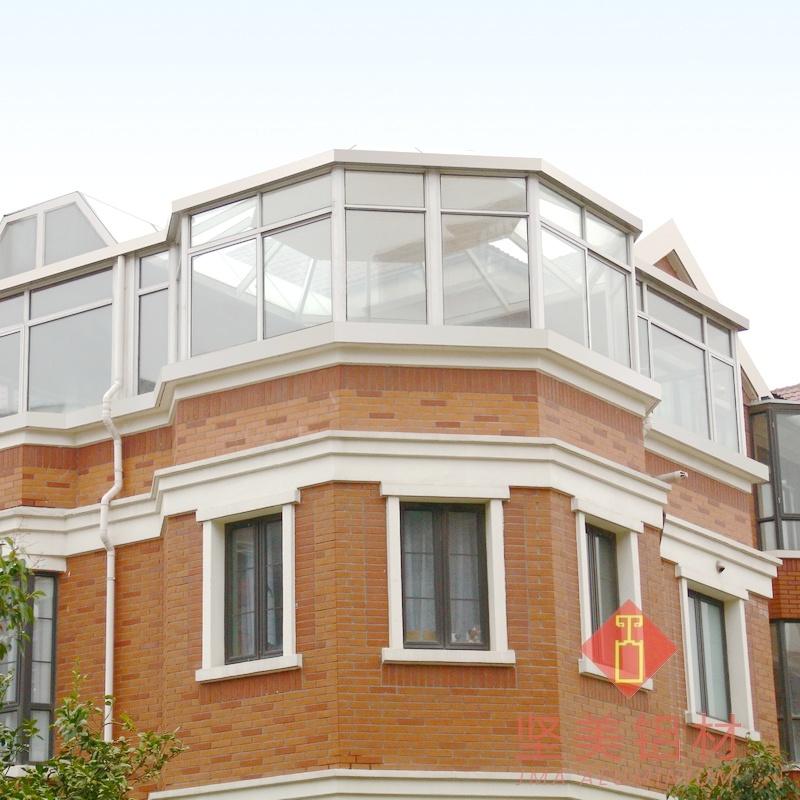 坚美 断桥铝阳光房中空钢化夹胶玻璃顶德高瓦封露台