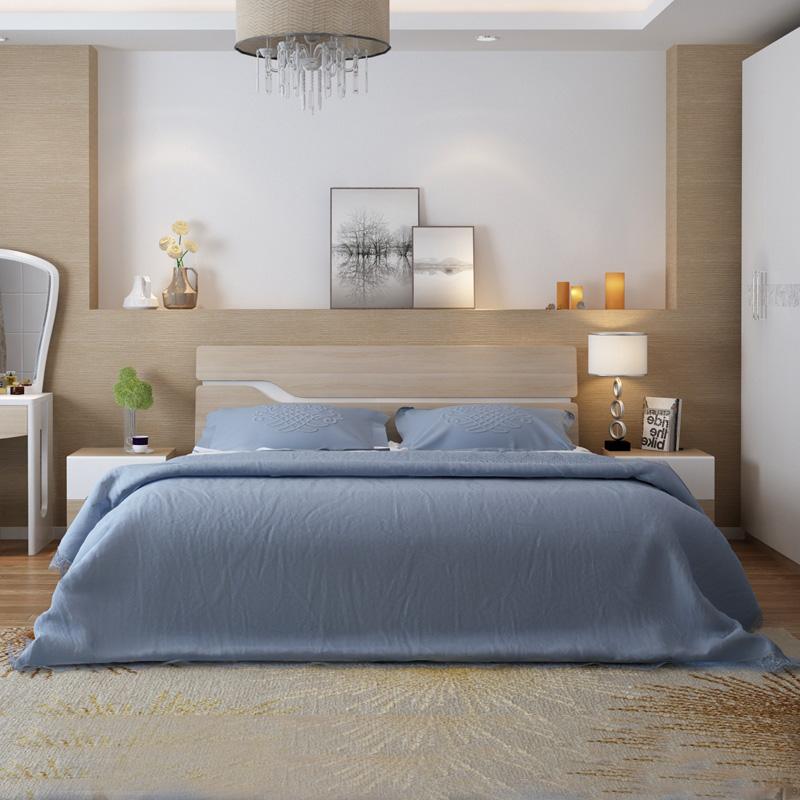 掌上明珠 新款木纹简约板式床