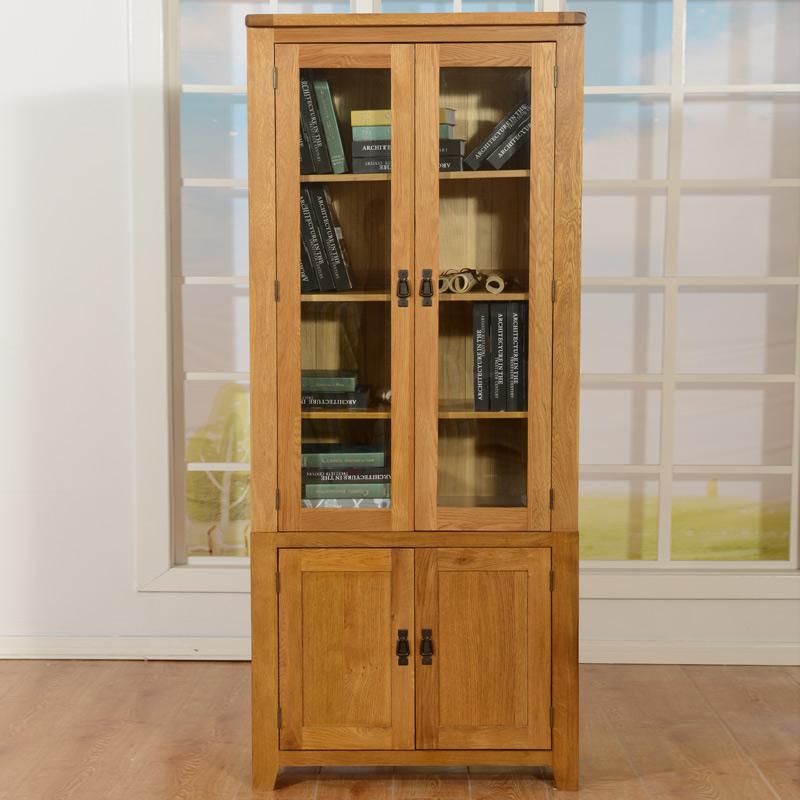 华日 实木两门书柜书房家具