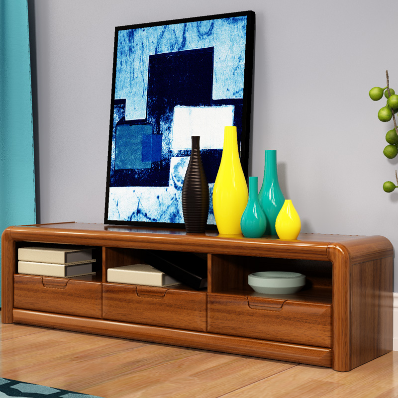 华日 金檀色实木客厅电视柜