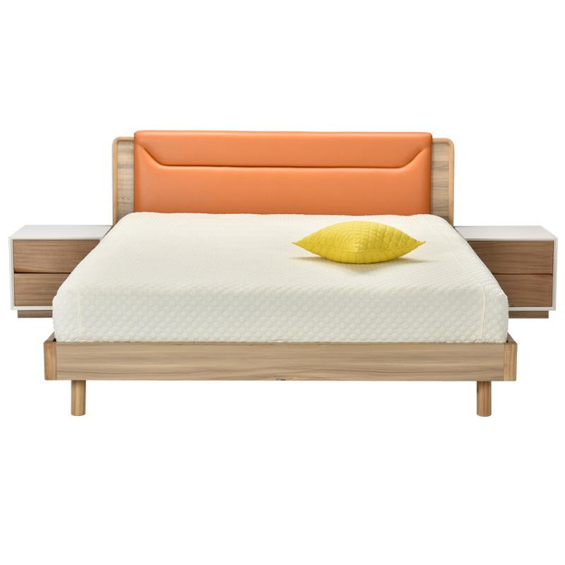 联邦家具 北欧现代实木床1.5米