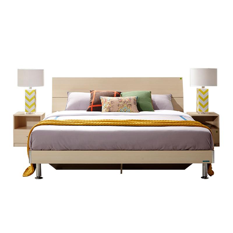 全友家私 现代简约卧室板式双人床1.8米床 106302