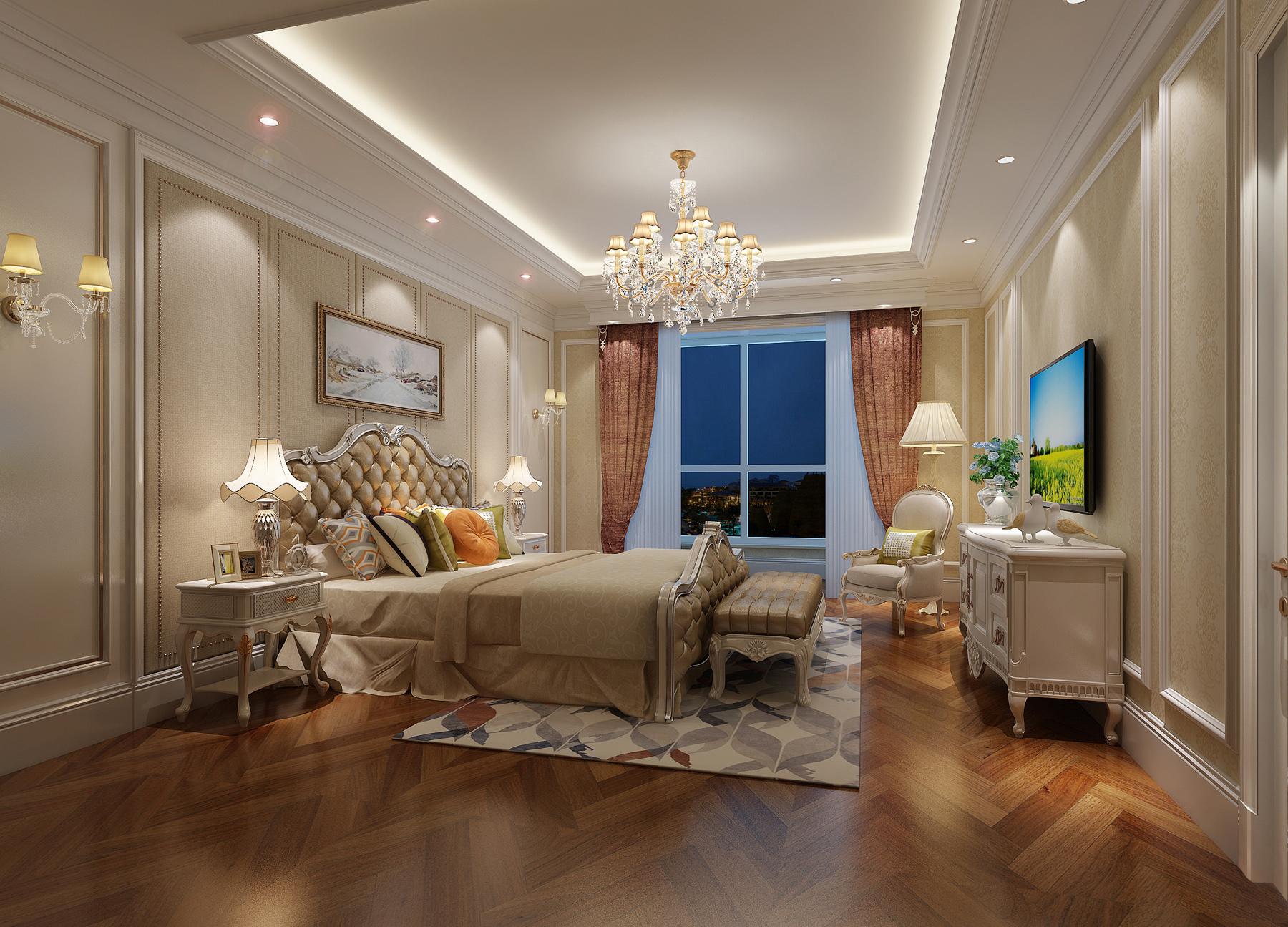 欧式风格的主基调为白色,主要的用材为石膏线,石材,铁艺,玻璃,壁纸图片