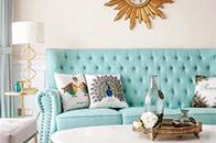 136㎡现代美式,融入蓝、粉、米、金色打造清新之家