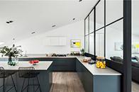 半开放式时尚设计满足厨房功能性和实用性