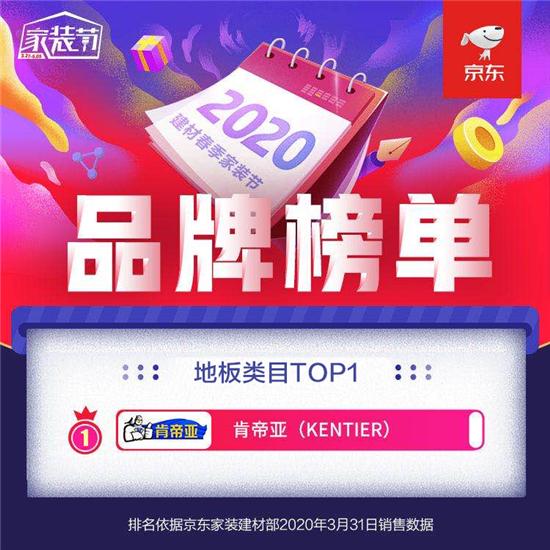 熱烈祝賀肯帝亞超級地板榮登京東春季家裝節地板類目TOP1