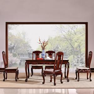 巧奪天工 雙獅迎福餐桌椅