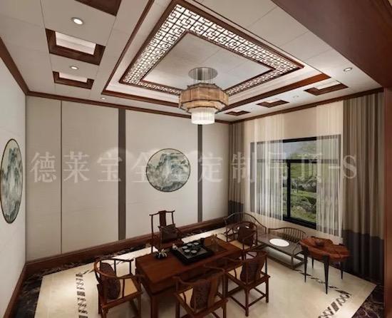 德莱宝新中式餐厅,顶部凹凸有致的九宫格吊顶设计,提升空间美感.图片