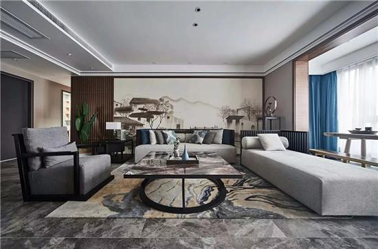 沙发背景墙,最美不过新中式图片