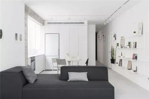 还选择了浅灰色地板来搭配雪白的墙壁与黑色沙发