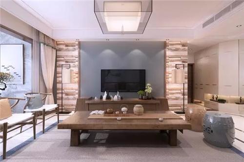 △电视背景墙两侧的仿木条设计,与木制家具以及灰色软装很搭.图片