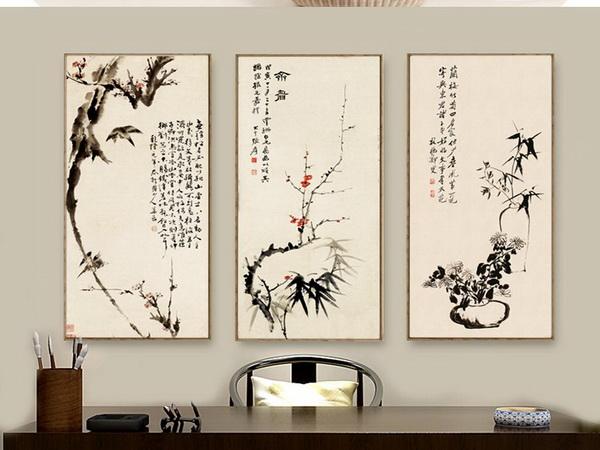 中式书房可选择清雅的植物装饰画进行点缀