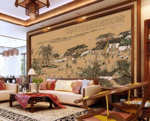 在客厅可使用大面积的画卷构造磅礴的气势