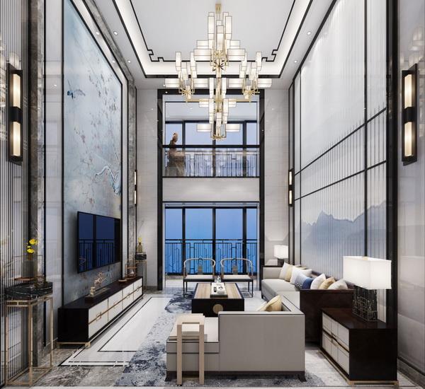 客厅整体色调素雅简洁,传达出儒雅亮节的自然气息