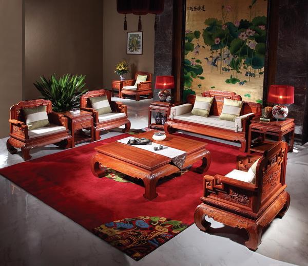 国寿红木《大果紫檀·东方意境沙发》