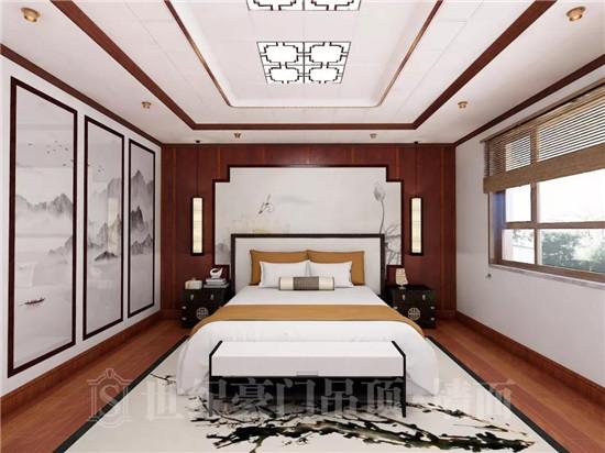 在新中式风格的家装设计中,卧室背景墙的呈现更是大气优雅,令人着迷.图片