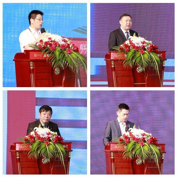 东阳市委副书记、市长姚激扬(上左),亚洲家具联合会会长、中国家具协会理事长徐祥楠(上右),泰国家具协会副理事长Jirawat Tangkijngamwong(下左)和复星集团总裁助理郭庆(下右)先后为大会致辞