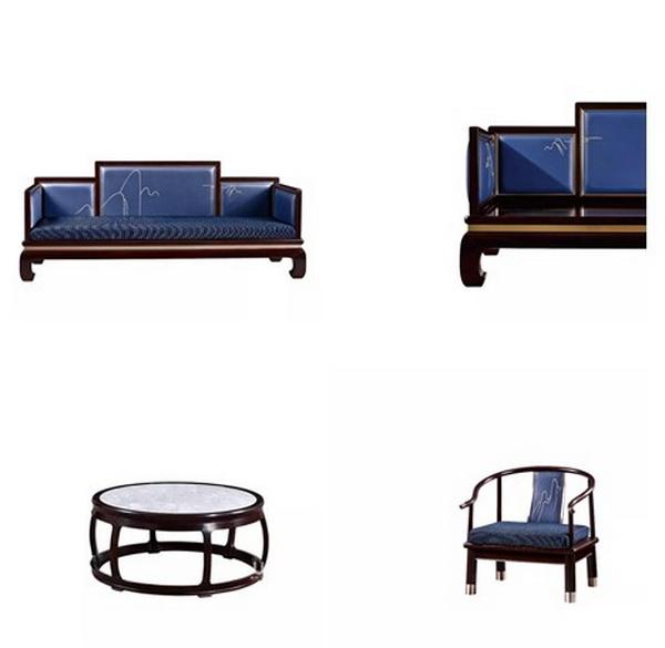 戴为尤品《蓝山客厅系列》无论是单人位、三人位或是咖啡台,都十分讲究大漆工艺和榫卯拼接,手工匠心制作
