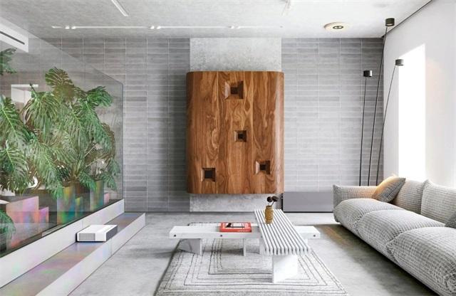 玻璃半墙搭灰色客厅 打造宁静舒适的住宅