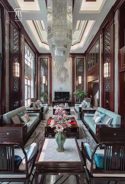 当代中式风格的复式挑高客厅(家具品牌为东成文宋)
