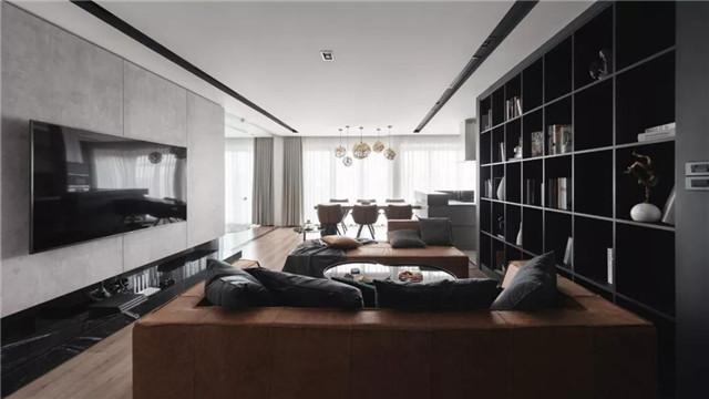 140㎡的 深色现代宅 卧室和书房墙面很好看