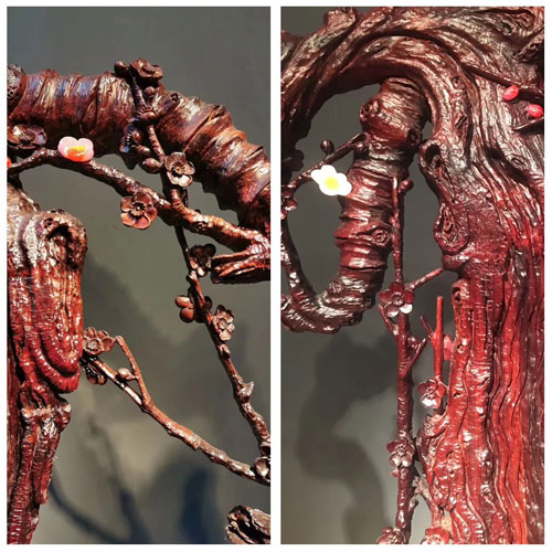 泰和园运用多种雕刻技法,将梅花枝干的神韵揉进写实风格之中,展现梅花凌寒独自开的不屈风骨