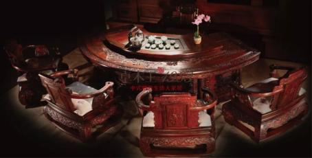 """卓木王《中国梦富春山居和谐茶台》 ,获2014年中国""""东作""""红木家具精品奖"""