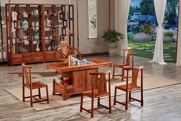 德成红木《盛世牡丹茶台》