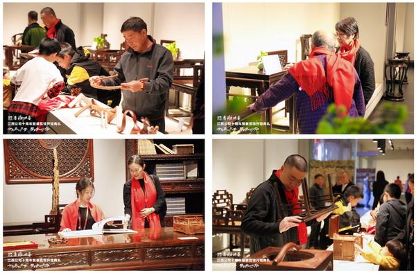 參加活動的嘉賓參觀ag旗舰厅手机版木藝展覽館,對做工精湛的紅木家具贊歎不已.jpg