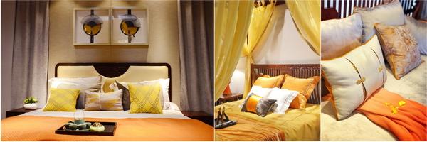 在新中式软装中使用爱马仕橙能够带来活泼热情的色彩情绪,彰显新中式大胆放肆的魅力