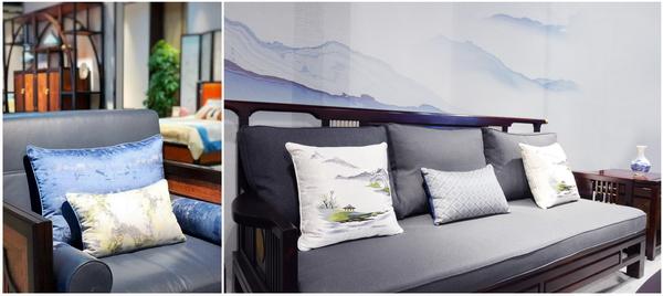 沙发软垫与抱枕通过使用深浅对比的颜色,为整套家具增加亮点又不失活力