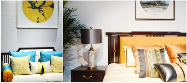 沙发靠垫的多种色彩搭配在视觉上形成丰富华丽的效果