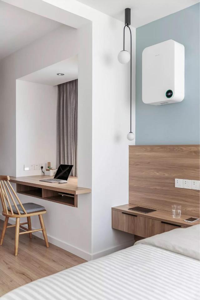 定制一体的床头柜做到了靠墙位置,带来实用自然的空间感顶上的北欧风图片