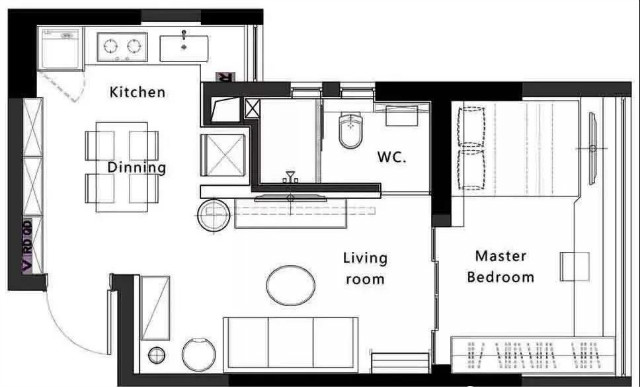 46平的现代风小户型公寓,餐厨结合、卧室也是书房