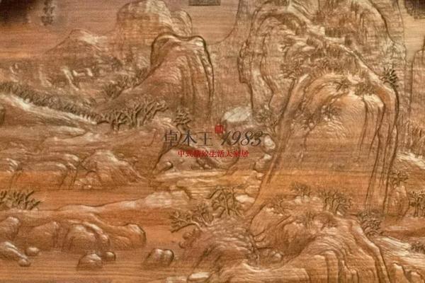 ▲  卓木王和谐书房-《雪江归棹图》雕刻细节