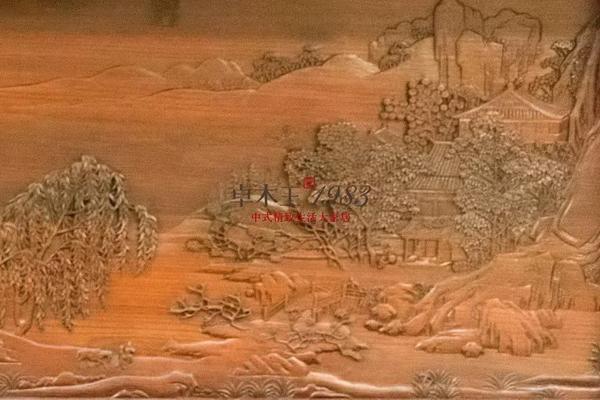 ▲  卓木王和谐书房-《四景山水图》春景 雕刻细节