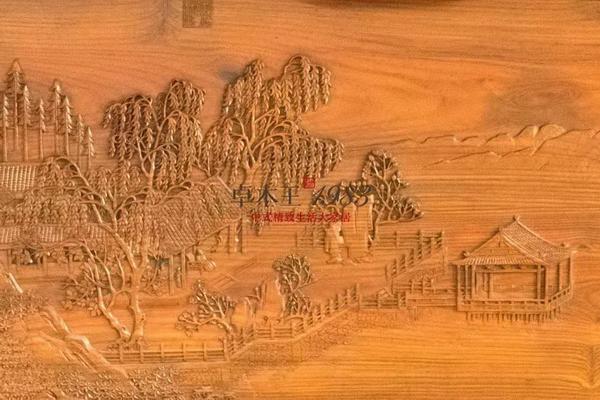 ▲  卓木王和谐书房-《四景山水图》夏景 雕刻细节