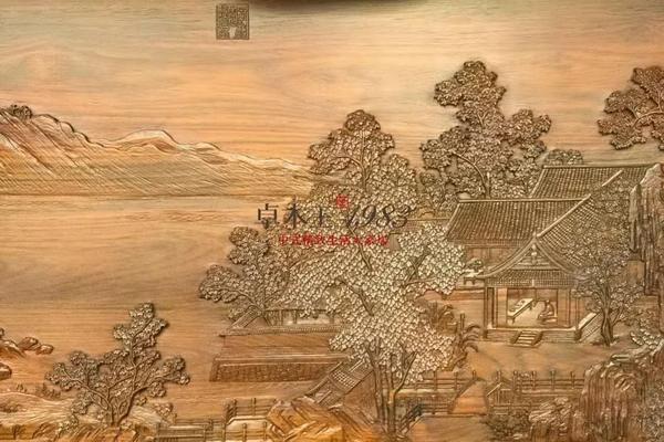 ▲  卓木王和谐书房-《四景山水图》秋景 雕刻细节