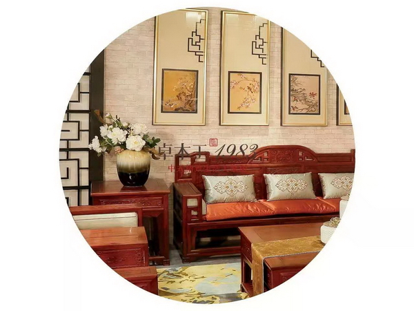 ▲  卓木王东方之韵沙发 (材质:红酸枝)