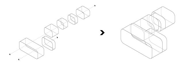 弧角造型的功能單元模塊,嵌套組合形成基本空間體系,Arc-angle-shaped functional modules, nested and combined to form a basic space system.jpg