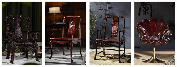 经过6年研发的《梅兰竹菊》系列——梅花椅、兰花椅、竹节椅、菊花椅