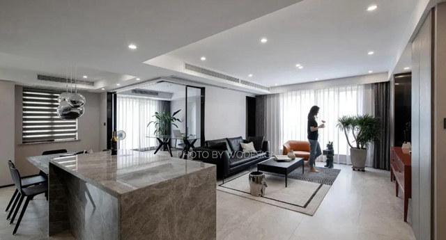 半开放书房,中岛餐厅,140平现代简约三室