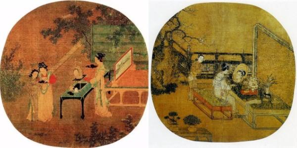 仇英《仿宋人画册》局部(左)靓妆仕女图团扇(右).jpg