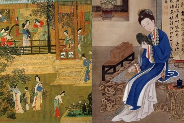 仇英《贵妃晓妆》(左)《胤禛美人图-裘装对镜》(右).jpg