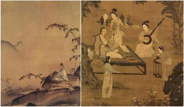 左:南宋 马远《竹涧焚香图》;右:宋 李嵩《焚香听阮图》.jpg