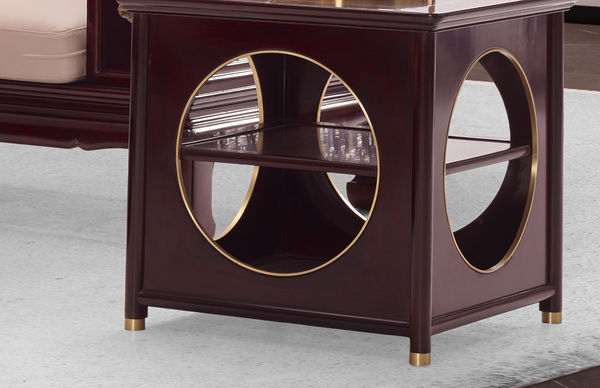 《佳境沙发》角几设计源于中式传统建筑,整体外观仿佛小型园林