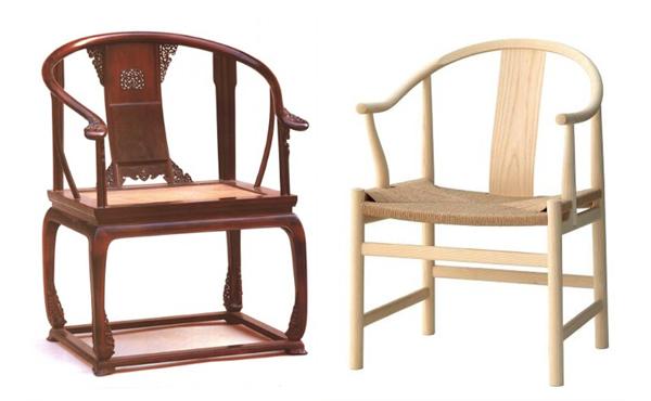 """新国潮、新国风背景下,红木家具要走向简洁,同时也要兼具舒适性(左:传统明式圈椅,右:汉斯·威格纳打造的""""中国椅"""")"""