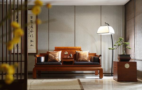 缅甸花梨家具打造的中式雅致空间